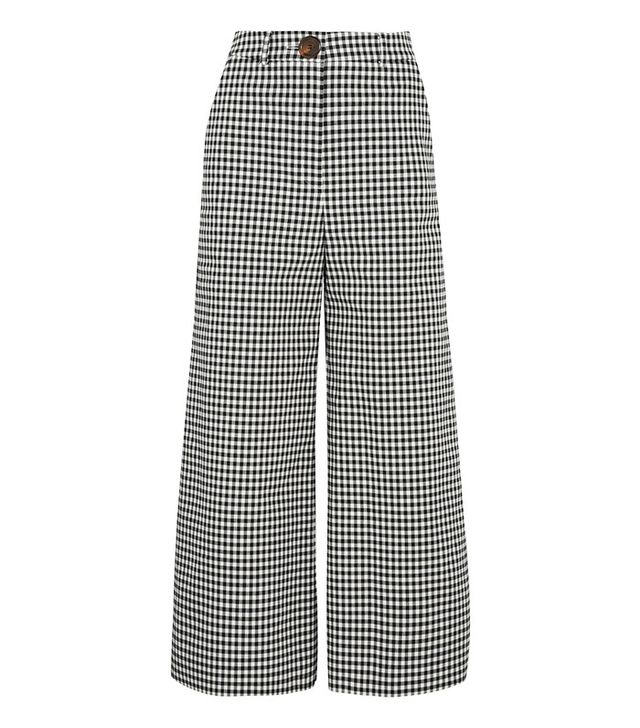 gingham wide leg pants