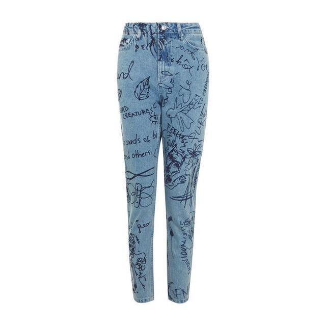 Topshop Moto Graffiti Print Straight Leg Jeans