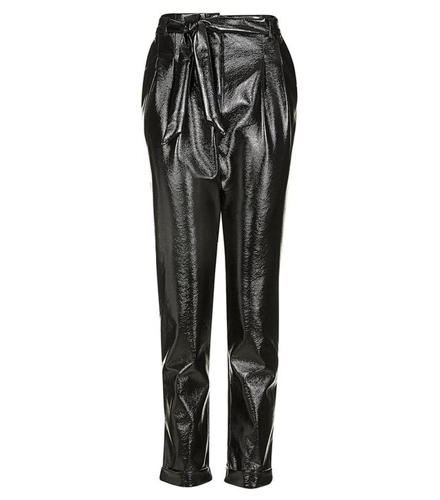 Topshop Crackled Vinyl Peg Trousers