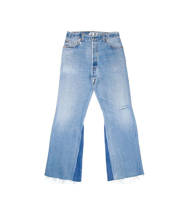 Re/Done High Rise Crop Flare Jeans