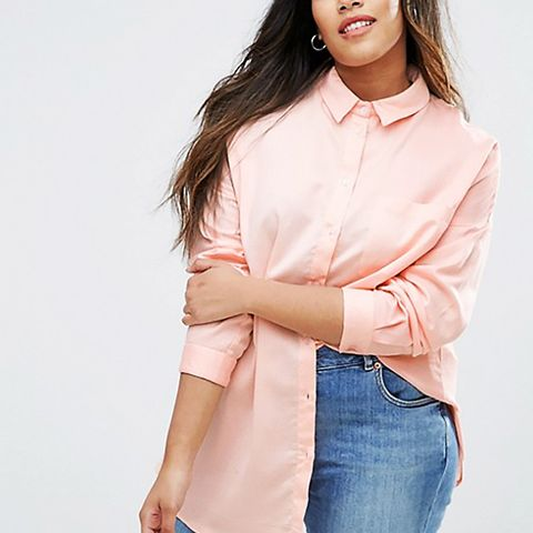Twill Boyfriend Shirt With Embroidered Back
