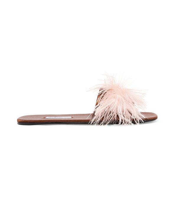Prada Feather-Embellished Satin Slides