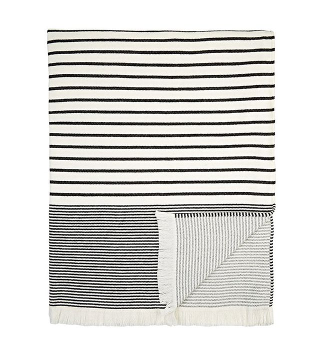 Barneys New York Mixed-Stripe Woven Throw