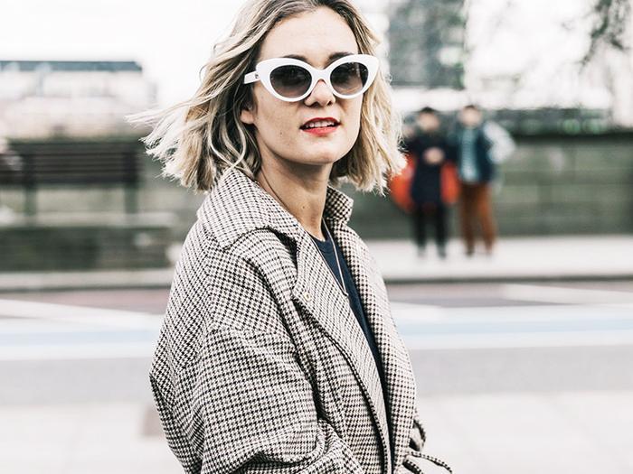 adenorah plaid coat white sunglasses