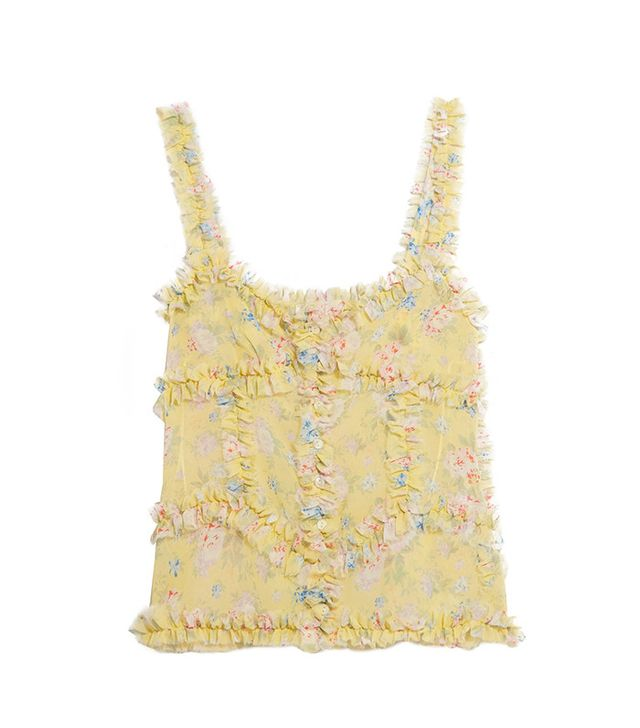 Attico Ana Ruffled Floral-Print Camisole