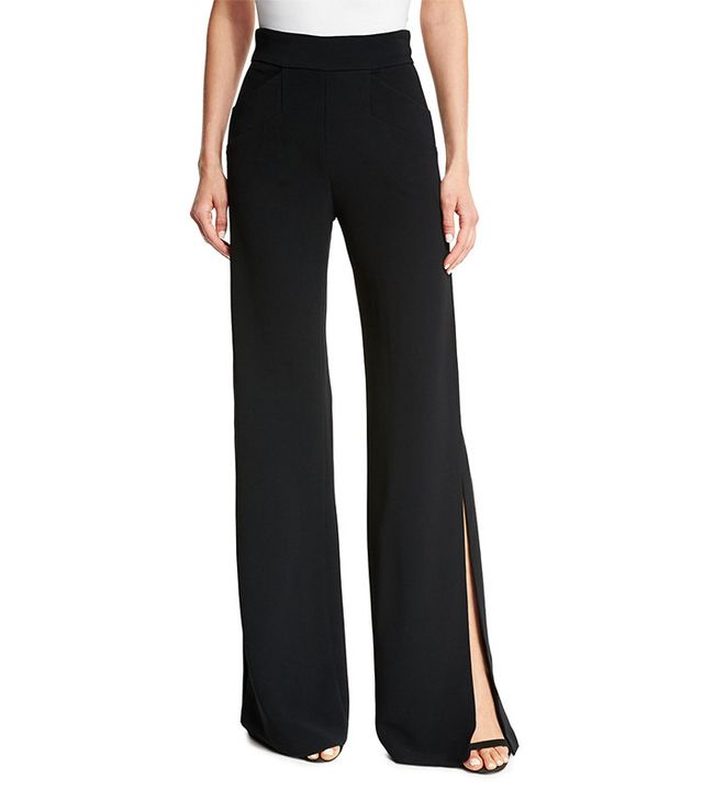 Alexis Aubree Side-Slit Wide-Leg Pants