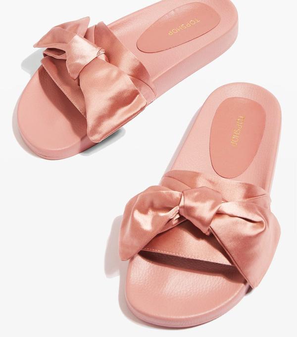 pink satin slides