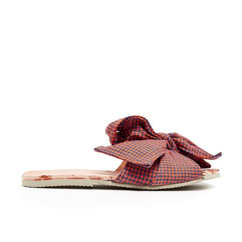 Burkina Checked-Bow Leather Slides