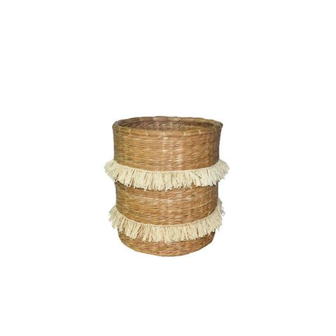 Round Basket with Fringe
