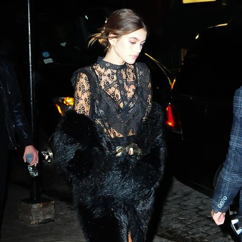 Kaia Gerber in Lace Dress