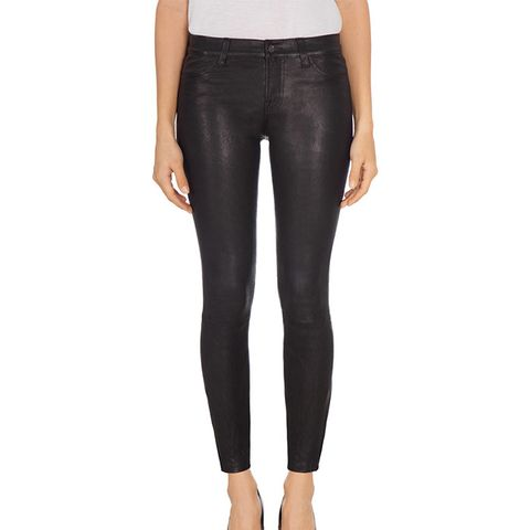 L8001 Mid-Rise Stretch Leather Jeans