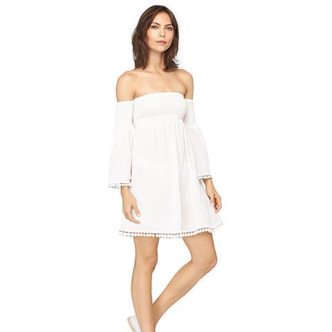 Crinkle Cotton Smocked Dress