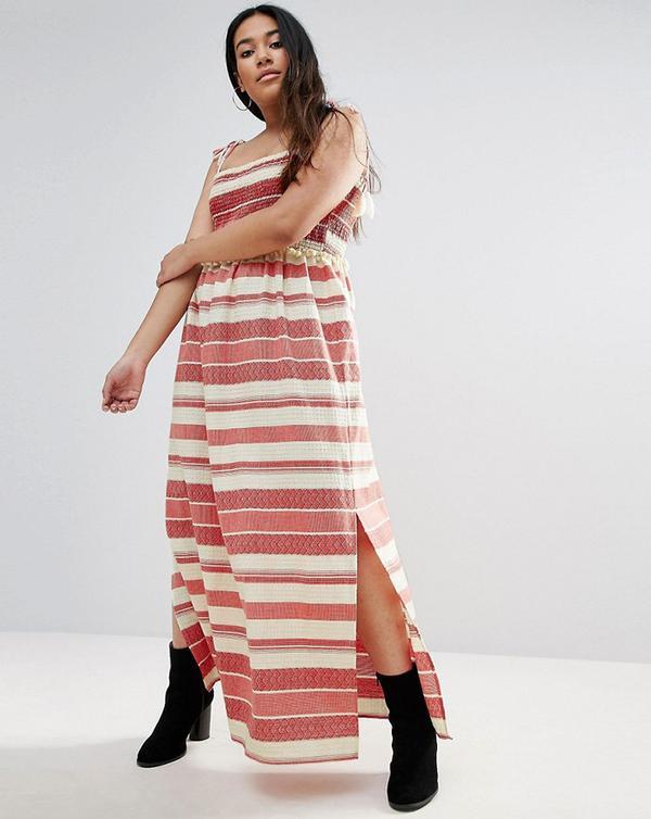 ASOS Curve Stripe Maxi Dress With Pom Pom and Shirring Details