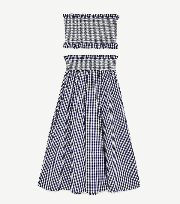 Zara Gingham Check Skirt and Top