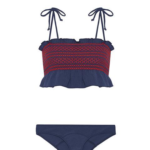 Selena Ruffle-Trimmed Smocked Stretch-Crepe Bandeau Bikini
