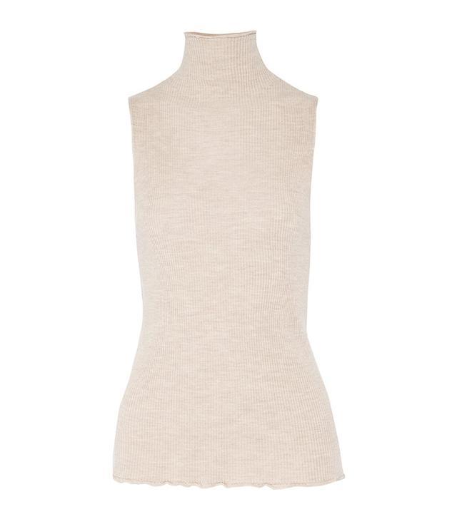 sleeveless knit turtleneck top