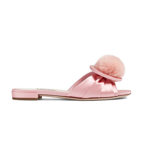 best pink satin slide sandal