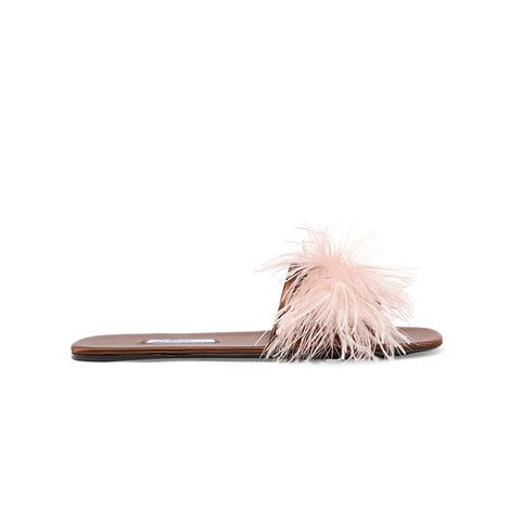 Feather-Embellished Satin Slides