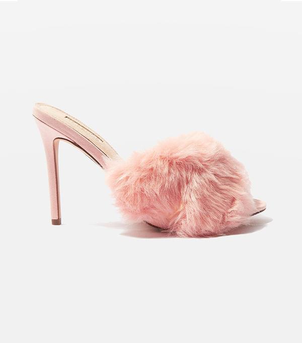 best pink fur mules