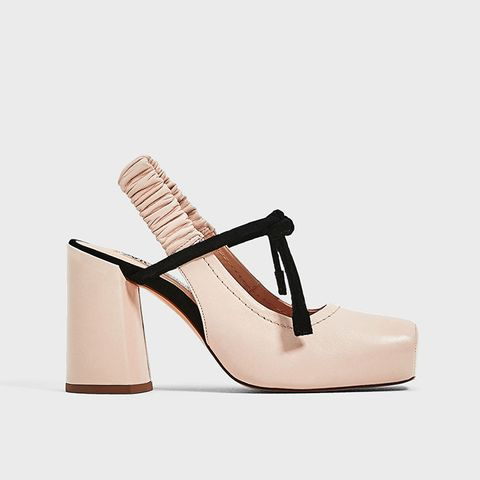 Leather Backless High Heel Shoes