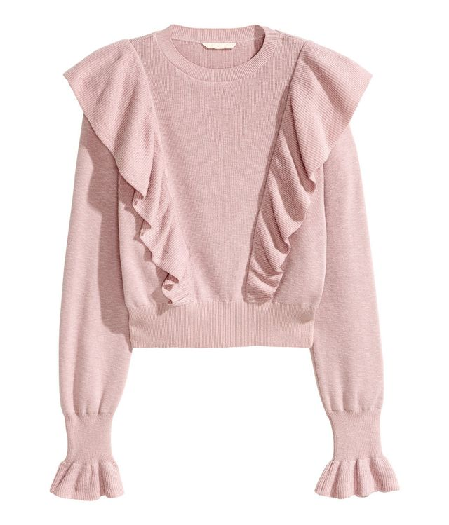 H&M Knitted Jumper With Frills