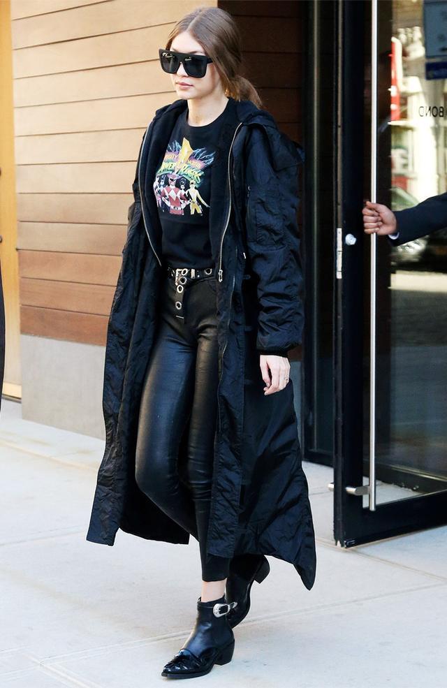 Gigi Hadid wearing cowboy boots