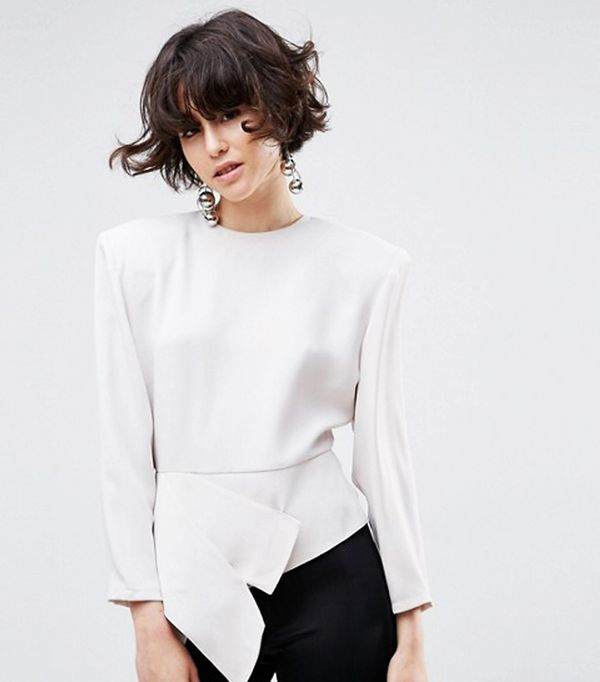 How to look chic: ASOS White Asymmetric Top With Shoulder Pads