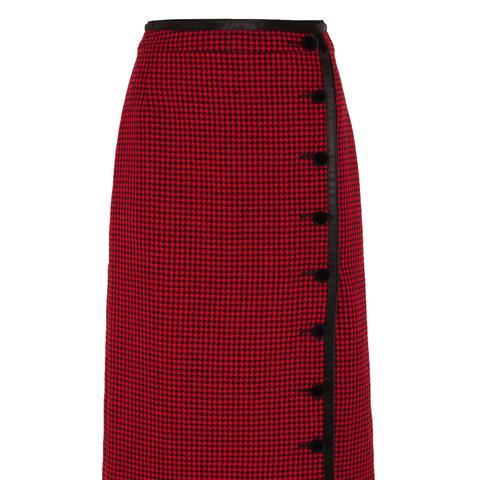 Christofor Silk Satin-Trimmed Houndstooth Wool Skirt