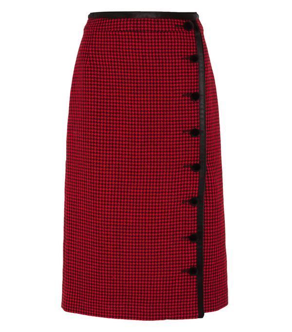 How to look chic: Altuzarra Christofor Silk Satin-Trimmed Houndstooth Wool Skirt