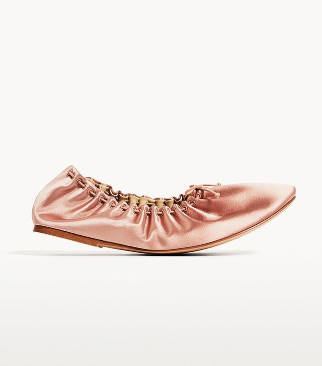 pink satin ballet flats
