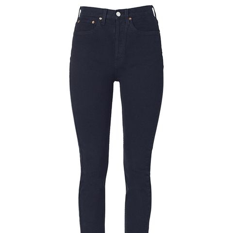 High Rise Ankle Crop Stretch Jeans in Black
