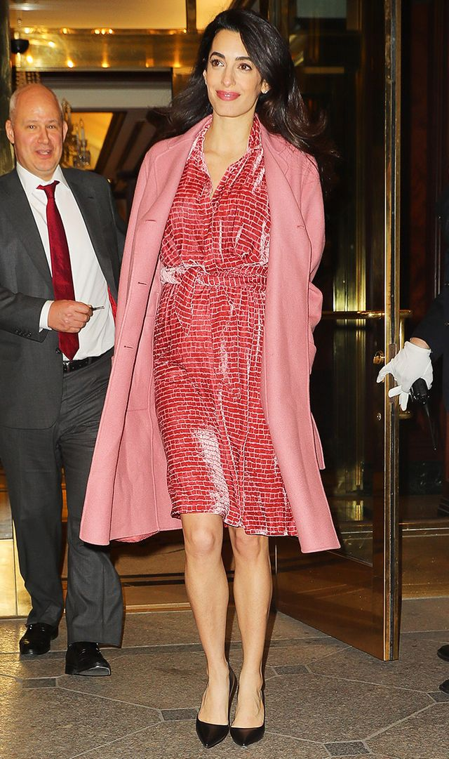 Amal Clooney wearing pink