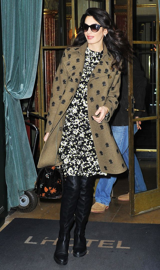 Amal Clooney wearing over-the-knee boots