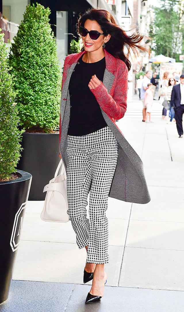 Amal Clooney wearing gingham pants