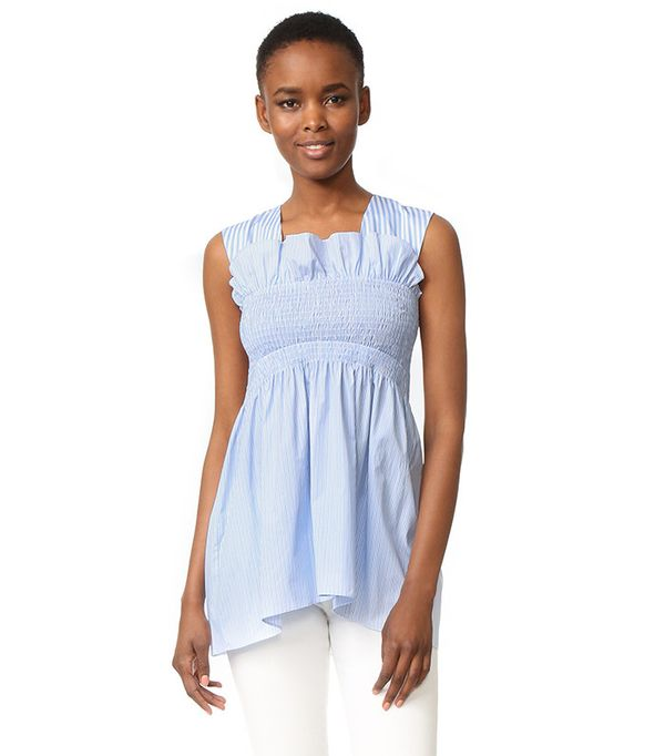 Victoria by Victoria Beckham Smocked Sleeveless Top