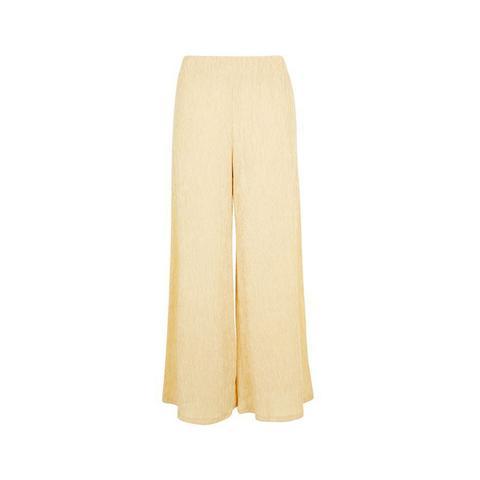 Cream Textured Wide Leg Pants