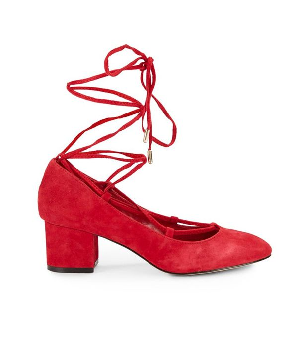 Saks Fifth Avenue Lace-Up Block-Heel Pumps