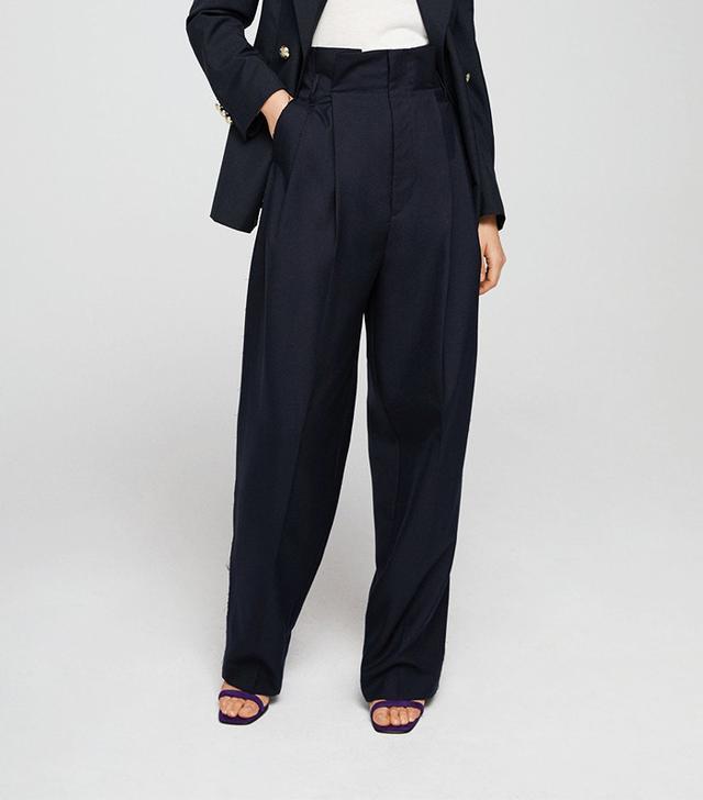 Mango Cotton Wool-Blend Trousers