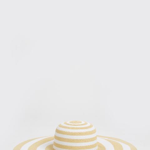 Victoria White & Beige Striped Floppy Hat