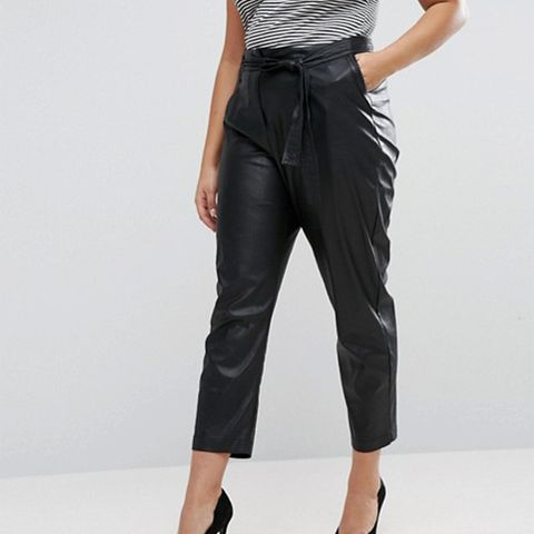 Leather Look Belted Pants