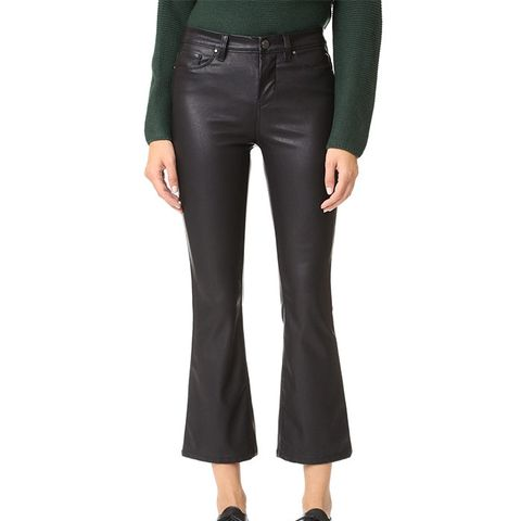 Vegan Leather Crop Kick Flare Pants