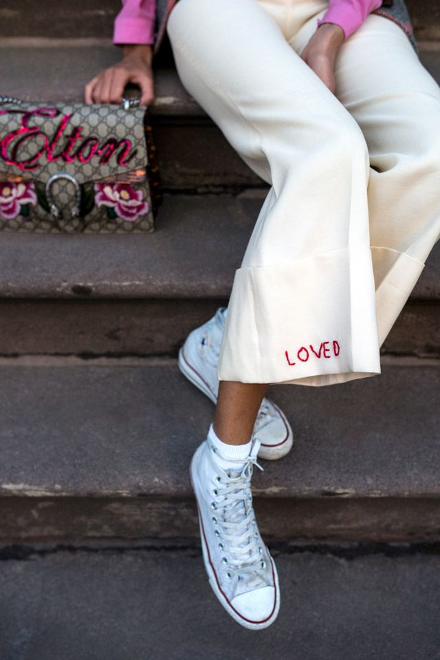 "To make this suit jacket work for a day of gallery-hopping or a visit to a local museum, Collings-James recommends swapping out your pumps for some worn-in high-top sneakers. ""Though it may..."