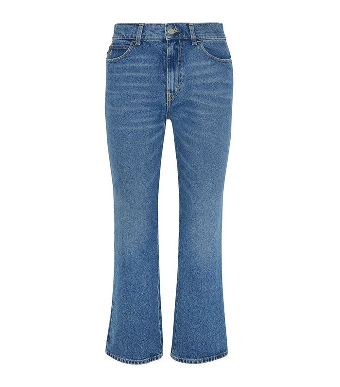 best light wash cropped flared jeans