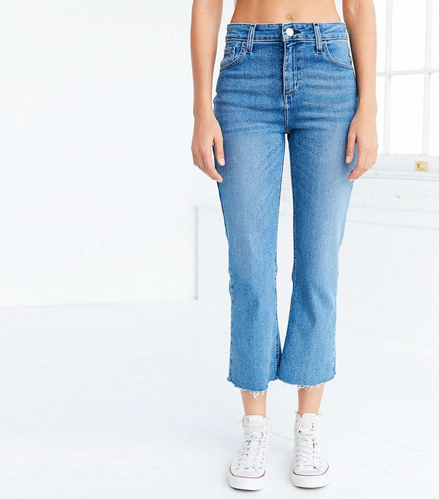 best distressed cropped flare jeans