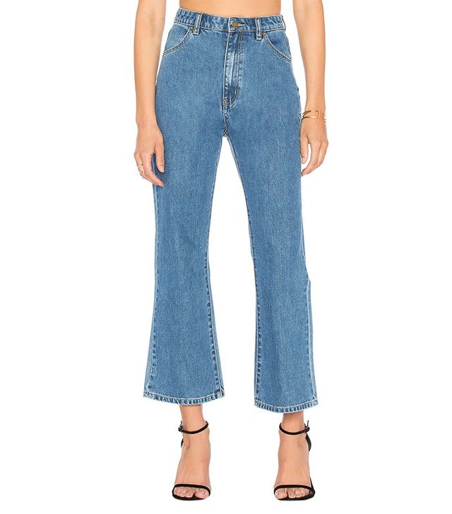 best medium wash cropped flare jeans