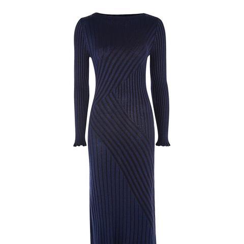 Pleated Rib Knit Midi Dress