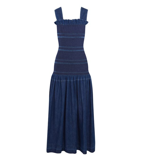 Smocked top and dresses 2000s trend: Stella McCartney Ruffled Smocked Denim Maxi dress