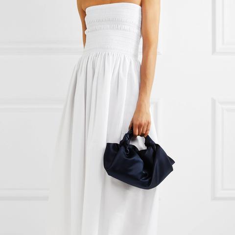Cial Shirred Cotton-Blend Poplin Midi Dress