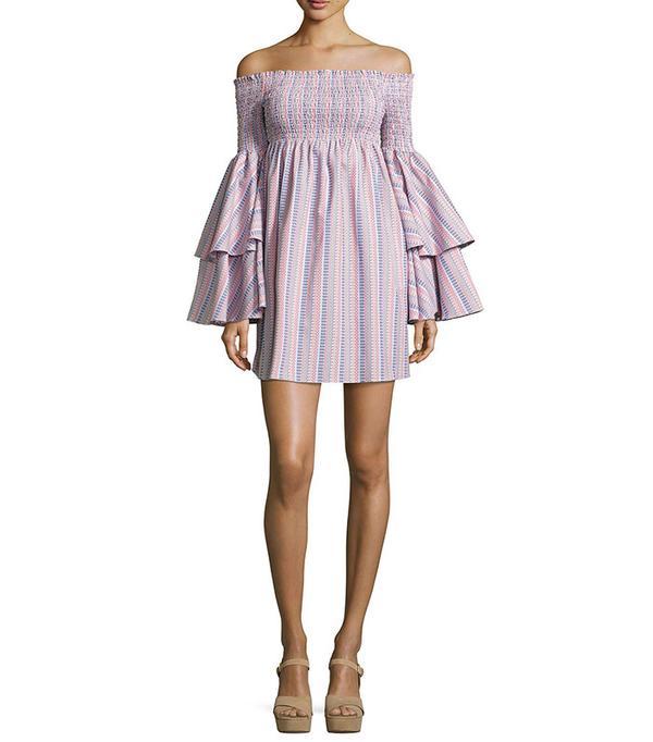 Smocked top and dresses 2000s trend: Caroline Constas Appolonia Off-the-Shoulder Mini Dress