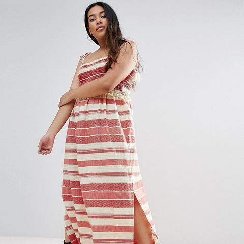 Stripe Maxi Dress With Pom Pom and Shirring Details